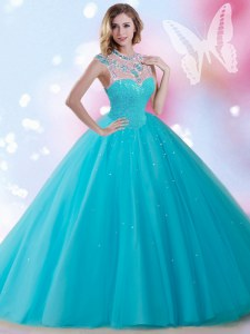 Latest Sequins Floor Length Ball Gowns Sleeveless Aqua Blue Quinceanera Dresses Zipper