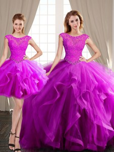 Three Piece Scoop Cap Sleeves Quince Ball Gowns With Brush Train Beading and Appliques and Ruffles Fuchsia Tulle