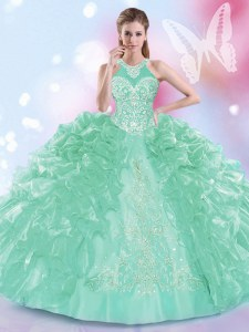 Modern Halter Top Apple Green Ball Gowns Appliques and Ruffles Quinceanera Dresses Lace Up Organza Sleeveless Floor Length