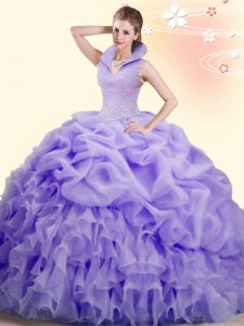 Lavender Sleeveless Beading and Ruffles and Pick Ups Backless Ball Gown Prom Dress