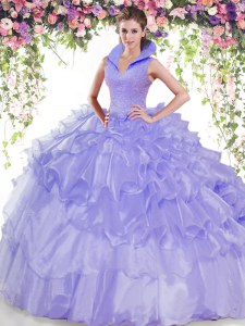 Glittering High-neck Sleeveless Organza Quinceanera Dress Beading and Ruffled Layers Backless