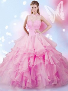 Romantic Sleeveless Floor Length Beading and Ruffles Lace Up 15th Birthday Dress with Rose Pink