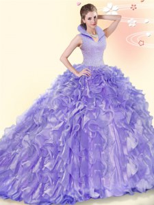 Organza High-neck Sleeveless Brush Train Backless Beading and Ruffles Quince Ball Gowns in Lavender