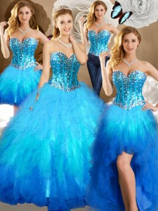 Four Piece Multi-color Sleeveless Floor Length Beading and Ruffles and Sequins Lace Up Vestidos de Quinceanera