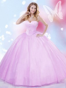 Spectacular Sweetheart Sleeveless Tulle Sweet 16 Dresses Beading Lace Up