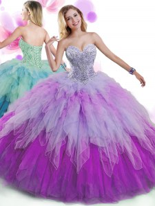 Custom Design Ball Gowns Sweet 16 Dresses Multi-color Sweetheart Tulle Sleeveless Floor Length Lace Up