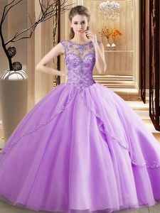 Delicate Scoop Lavender Vestidos de Quinceanera Tulle Brush Train Sleeveless Beading