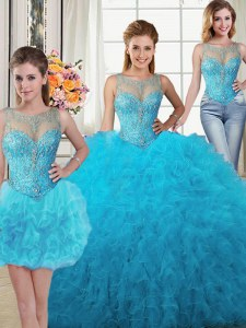 Inexpensive Three Piece Scoop Baby Blue Sleeveless Beading and Ruffles Floor Length Quinceanera Gown