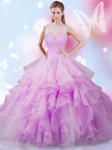 Stylish High-neck Sleeveless Lace Up 15th Birthday Dress Lilac Tulle