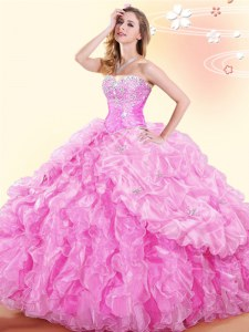 Exquisite Rose Pink Lace Up Sweetheart Beading and Ruffles and Pick Ups 15 Quinceanera Dress Organza Sleeveless