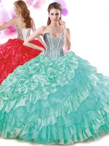 Beautiful Turquoise Sweetheart Lace Up Beading and Ruffled Layers and Pick Ups Sweet 16 Quinceanera Dress Sleeveless