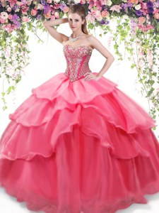 Charming Floor Length Coral Red Sweet 16 Dress Organza Sleeveless Beading and Ruffled Layers