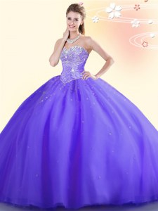 Low Price Purple Ball Gowns Tulle Sweetheart Sleeveless Beading Floor Length Lace Up Sweet 16 Dress