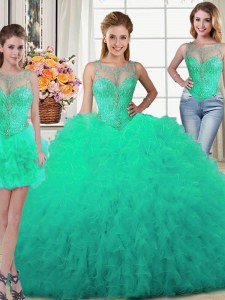 Three Piece Tulle Scoop Sleeveless Lace Up Beading and Ruffles Sweet 16 Dress in Turquoise