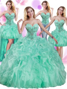 Edgy Four Piece Apple Green Sweetheart Neckline Beading and Ruffles Vestidos de Quinceanera Sleeveless Lace Up