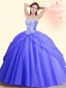 Stunning Lavender Ball Gowns Sweetheart Sleeveless Tulle Floor Length Lace Up Beading 15th Birthday Dress