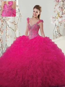 Fancy Straps Hot Pink Sleeveless Beading and Ruffles and Hand Made Flower Floor Length 15 Quinceanera Dress