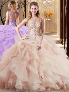 Exceptional Scoop Peach Sleeveless Brush Train Beading and Ruffles Sweet 16 Quinceanera Dress