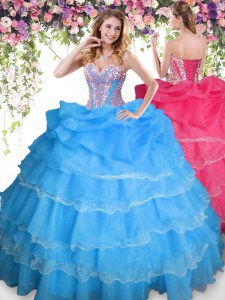 New Arrival Baby Blue Ball Gowns Beading and Ruffled Layers and Pick Ups Vestidos de Quinceanera Lace Up Organza Sleeveless Floor Length