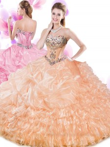 Sumptuous Beading and Ruffled Layers and Pick Ups Sweet 16 Dresses Orange Lace Up Sleeveless Floor Length