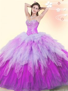 Luxurious Beading and Ruffles Quinceanera Gown Multi-color Lace Up Sleeveless Floor Length