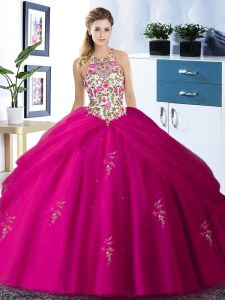 Sweet Halter Top Sleeveless Lace Up Floor Length Embroidery and Pick Ups Ball Gown Prom Dress