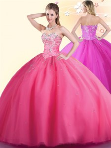 Hot Pink Lace Up Sweetheart Beading Quinceanera Dress Tulle Sleeveless