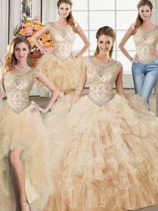 Eye-catching Four Piece Scoop Floor Length Ball Gowns Sleeveless Champagne 15 Quinceanera Dress Lace Up
