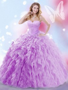 Eye-catching Lavender Lace Up Quinceanera Gown Beading and Ruffles Sleeveless Brush Train