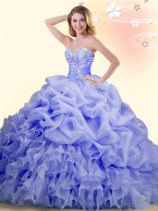 Fantastic Sleeveless With Train Beading and Ruffles and Pick Ups Lace Up Quinceanera Dress with Lavender Brush Train
