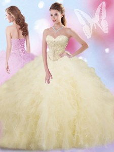 Captivating Light Yellow Sleeveless Beading and Ruffles Floor Length Quinceanera Gown