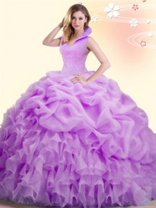 Backless Organza Sleeveless Floor Length Quince Ball Gowns and Beading and Appliques and Pick Ups