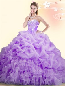 Sleeveless Brush Train Lace Up With Train Beading and Ruffles and Pick Ups Sweet 16 Quinceanera Dress