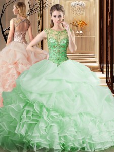 Organza Scoop Sleeveless Brush Train Lace Up Beading and Ruffles and Pick Ups Quinceanera Dresses in Apple Green