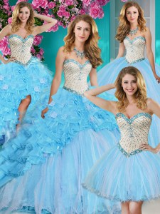 Four Piece Sleeveless With Train Beading and Ruffles Lace Up Quinceanera Dresses with Baby Blue Brush Train