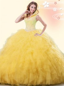 Yellow Backless 15 Quinceanera Dress Beading and Ruffles Sleeveless Floor Length