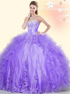 Exquisite Sleeveless Tulle Floor Length Lace Up Quince Ball Gowns in Lavender with Beading and Appliques and Ruffles