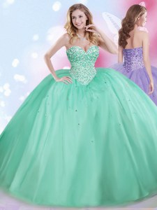 Sumptuous Tulle Sleeveless Floor Length Quinceanera Gown and Beading
