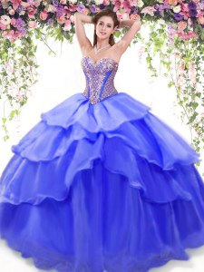 Ruffled Floor Length Blue Quinceanera Dresses Sweetheart Sleeveless Lace Up