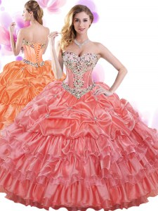Eye-catching Watermelon Red Ball Gowns Organza Sweetheart Sleeveless Beading and Ruffled Layers and Pick Ups Floor Length Lace Up Quince Ball Gowns