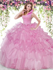 Lilac Ball Gowns Beading and Ruffled Layers Ball Gown Prom Dress Backless Organza Sleeveless Floor Length