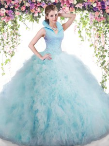 Backless Floor Length Baby Blue Quinceanera Dresses Tulle Sleeveless Beading and Ruffles