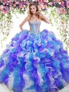 Multi-color Sweetheart Neckline Beading and Ruffles Sweet 16 Dress Sleeveless Lace Up
