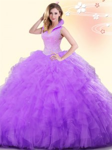 Sweet Lavender Sleeveless Tulle Backless Sweet 16 Quinceanera Dress for Military Ball and Sweet 16 and Quinceanera