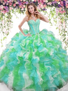 Multi-color Ball Gowns Sweetheart Sleeveless Organza Floor Length Lace Up Beading and Ruffles Sweet 16 Dresses