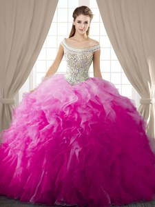 Fuchsia Ball Gowns Organza Off The Shoulder Sleeveless Beading and Ruffles Floor Length Lace Up Quinceanera Dresses