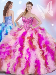 Glorious Organza Sleeveless Quinceanera Dress and Beading and Ruffles