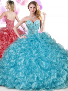 Blue Sweetheart Lace Up Beading and Ruffles 15 Quinceanera Dress Sleeveless