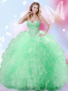 High End Sleeveless Floor Length Beading and Ruffles Lace Up 15th Birthday Dress with Apple Green