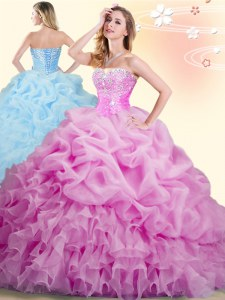 Lilac Organza Lace Up Sweet 16 Dresses Sleeveless With Brush Train Beading and Ruffles and Pick Ups